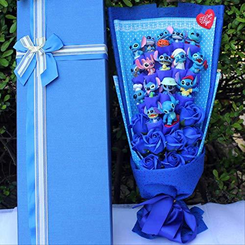 not Kawaii Stitch Peluches con Flores Artificiales, Bouquet De Dibujos Animados Caja De Regalo Animales De Peluche, Navidad Regalo De San Valentín A
