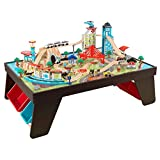 KidKraft Aero City Wooden Train Set & Table with 80-Pieces and 4 Storage Bins - Espresso, Gift for Ages 3+