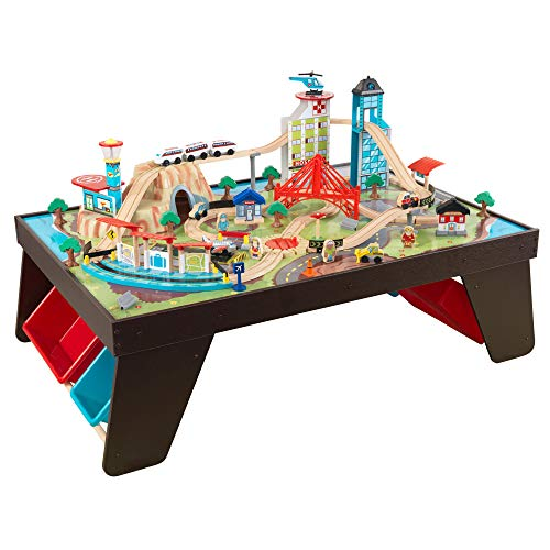 KidKraft Aero City Wooden Train Set & Table with 80-Pieces and 4 Storage Bins - Espresso, Gift for...