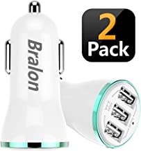Bralon USB Car Charger[2-Pack], 18W/3.4A 3-Port Rapid Car Charger with Smart ID Compatible for iPhone Xs/Xs max/Xr/X/8/7/6/5,iPad Pro/Air/Mini,Galaxy S9/S8/S7/S6,Note 9/Note 8,LG, Nexus, HTC and More