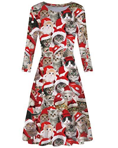 AIDEAONE Damen Weihnachtsoutfit 3/4 Ärmel Midi Weich Kleid Lustig Katze Druck