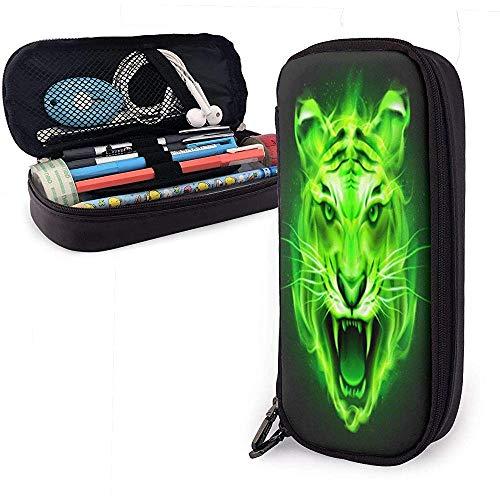 Fair Tiger Head Green PU Funda de cuero de cuero Compartimento personalizado Bolsa de cosméticos Organizador de almacenamiento impermeable con cremallera Bolsa de maquillaje portátil