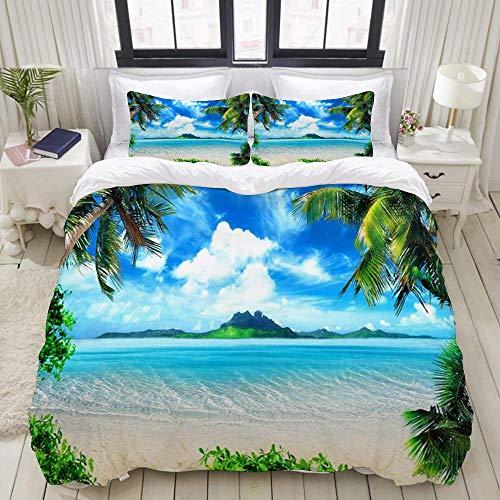 SmallNizi Funda nórdica, Summer Beach Blue Ocean con Palmera de Coco, Juego de Cama Juegos de Microfibra de Lujo Ultra cómodos y livianos