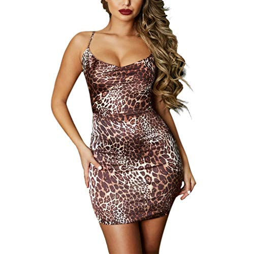 YCQUE Sexy Damenmode Slim Fit Mantel Leopardenmuster Sling Sleeveless Gedruckt Abend Party Cocktail Bodycon Kleid Backless