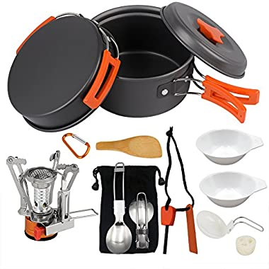 Camping Cookware Set Hiking backpacking Gear & Camping Outdoor Survival Utensils Cooking Equipment 15 Piece Cooking pots   Mini Non-stick pan , Lightweight ,Folding,Best Camping Gear Mess kit