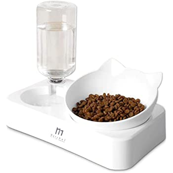 Marchul Gravity Water and Food Bowls Cat, Cat Dog Tilted Water and Food Bowl Set,Raised Cat Bowls, New Version,Cap Never Rust