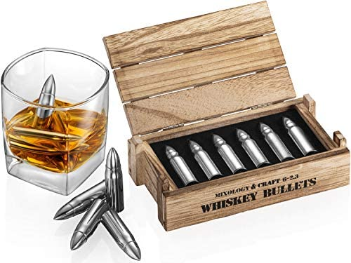 Whiskey Stone Bullets Gift Set Stainless Steel Bullet shaped Whiskey Stones in a Wooden Army product image