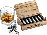 Whiskey Stone Bullets Gift Set - Stainless Steel Bullet shaped Whiskey Stones in a Wooden Army Crate | Reusable Bullet Ice Cube for Whiskey | Perfect Whiskey Gift Set for Men, Dad, Husband, Boyfriend