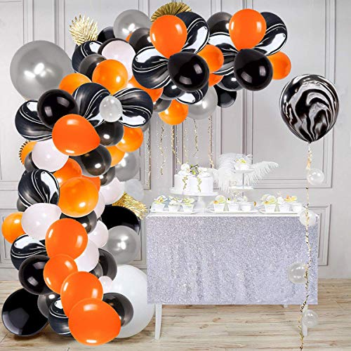 Holloween Balloon Arch & Garland Kit, 113pcs 16Ft Long Silver Black White Orange and Black Agate Latex Balloons with Tying Tool, Balloon Strip Tape and Sticky Dots, Great for Wedding Baby Shower Christmas Birthday Carnival Party Decoration Supplies