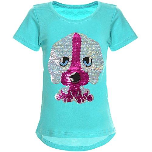 BEZLIT Mädchen Wende-Pailletten T-Shirt Tollen Hund Motiv 22033 Grün Größe 152