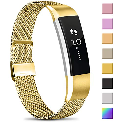 Meliya Replacement Metal Bands Compatible with Fitbit Alta/Fitbit Alta HR, Stainless Steel Metal Replacement Wristbands for Women Men (Small, 07 Gold)