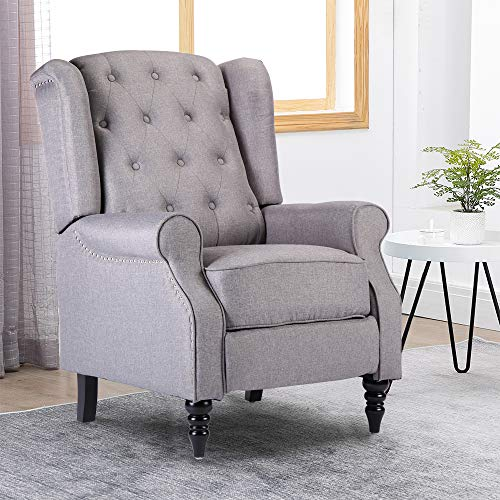 Menaka Retro Living Room Sofa Armchair Recliner Chair Grey Vintage Bedroom TV Reclining Side Chair Wingback Tub Chairs Linen Fabric with Adjustable Footrest Comfy Upholstered Seat