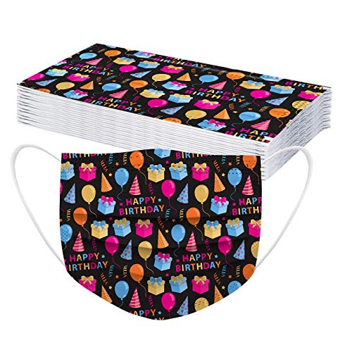 CawBing Birthday Gifts DisposableFaceMasks for Her Him 20PCS Happy Birthday Printed Decorations Balaclava 3 ply Comfort Breathable FaceCoverings with Elastic Earloop Protection Bandana
