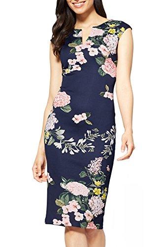 Zalalus Women's Sleeveless Casual Wear To Work Floral Print V Neck Sheath Midi Party Dress Navy Blue Medium