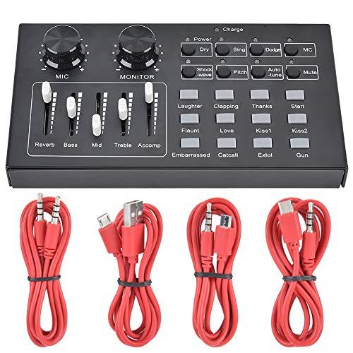 CXCF Tarjeta De Sonido De Audio Externo Cantante Micrófono Transmisión En Vivo para Teléfono Móvil PC - Negro