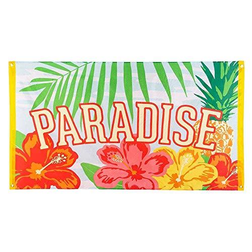 Boland 52489 - Fahne Paradise, Größe 90 x 150 cm, aus Polyester, Banner mit Motiv, Dekoration, Hawaii, Strandparty, Karneval, Mottoparty, Geburtstag
