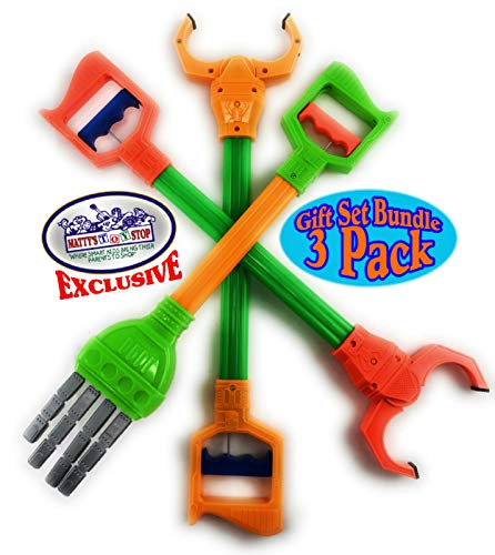 Mɑtty's Toy Stop Deluxe 20' Galaxy Grabber, Robot Hand & Robot Claw Gift Set Bundle - 3 Pack