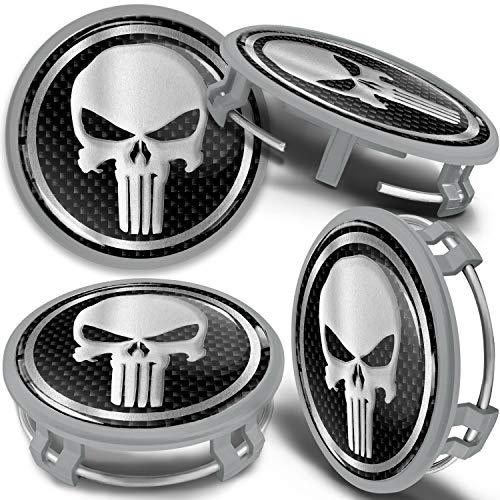 SkinoEu 4 x 75mm Tapas de Rueda de Centro Centrales Llantas Aluminio Tapacubos Compatibles con Mercedes Benz B66470207 / B66470200 Plata Gris Cráneo Punisher CMS 10