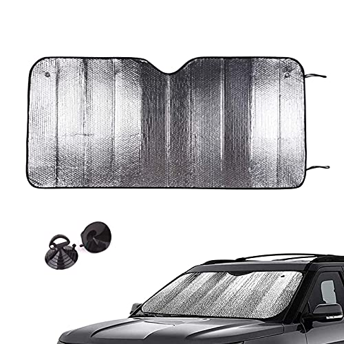 JUBANGLIAN Parabrisas Delantero Plegable Parasol con Ventosa Fácil de Usar Visera para el Coche para Los Rayos UV y Protección Solar para el Interior del Coche(Silver,150x80cm(59x31inch))