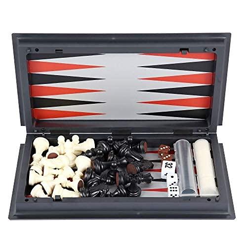 Pinpig Juego de Damas 3 en 1 Ajedrez magnético Juego de Damas de Backgammon Ajedrez Plegable Juego de Mesa de ajedrez Internacional portátil para niños Juguetes Juego de ajedrez
