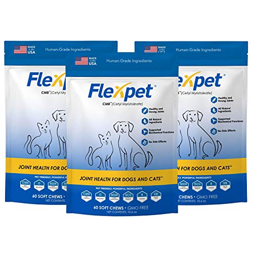 Flexpet Maximum Strength Soft Chews – AllNatural Pain Reliever for Dogs with Glucosamine and Cetyl Myristoleate CM8 Hip and Joint Supplement AntiInflammatory: Three Pack  180 Soft Chews