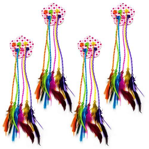 24 Piezas Cabello Trenzado de Nylon Decorado con Plumas y Perlas Pelo Trenzado de Nylon para Disfraz Rendimiento Regalo Nias Fiesta de Cumpleaos (6 Colores)