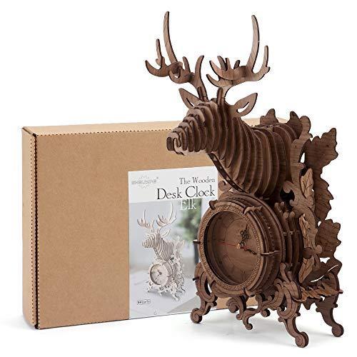 Amy&Benton 3D Holz Puzzle Uhr für Erwachsene, 3D Holz Bausatz Rentier Schreibtisch Uhr