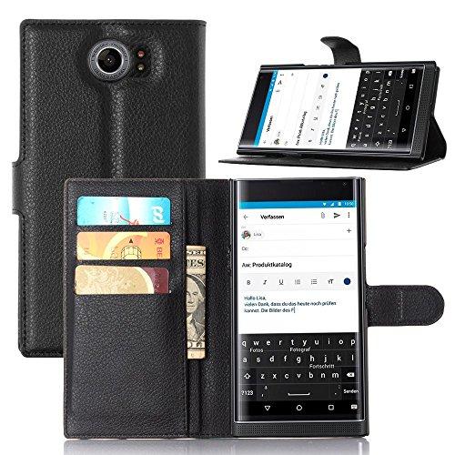 Tasche für BlackBerry Priv Hülle, Ycloud PU Ledertasche Flip Cover Wallet Hülle Handyhülle mit Stand Function Credit Card Slots Bookstyle Purse Design schwarz
