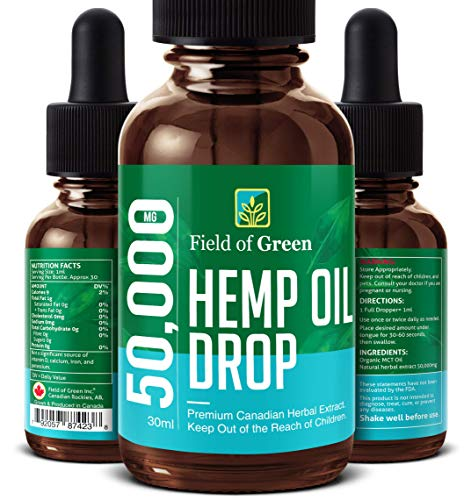 Field of Green Hempseed Oil – Grown & Made in Canada 50,000MG, Anti-Anxiety and Anti-Stress, Pain Relief, Mood Enhance…