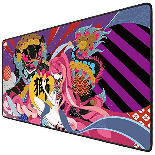 Tappetino per il mouse da gioco, misura grande, 800 x 300 x 3 mm, XXL, bordi cuciti spessi, migliora la precisione e la velocità del mouse per PUBG Cyberpunk 2077 (Southern Lion)