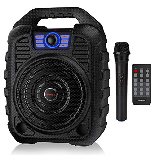 EARISE T26 - Sistema PA portatile con altoparlante Bluetooth con microfono wireless, macchina per karaoke ricaricabile con radio FM, funzione registrazione, telecomando, supporta scheda TF/USB