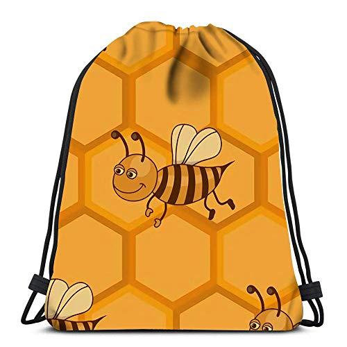 Lsjuee Rucksack Kordelzug Fliese mit Wabe und Biene