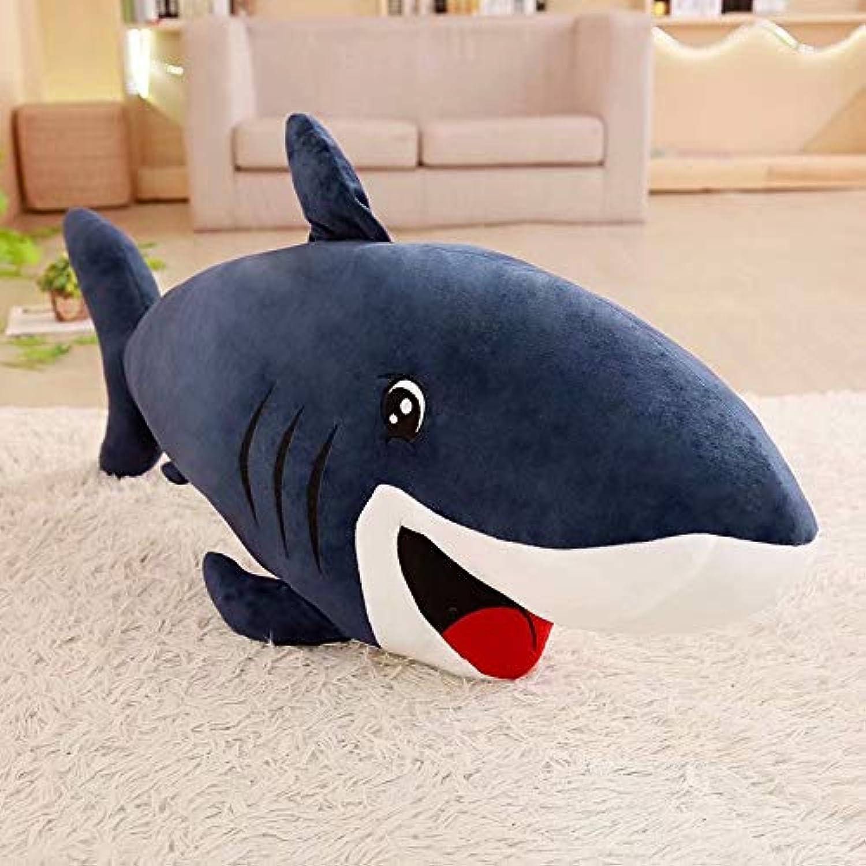 Hhjxptst Jouet en Peluche, Dauphin De Requin, en Peluche De Jet, Oreiller, Ultra-Doux, Confortable, Bourré, Cadeau pour des Enfants Requin Bleu (Mignon) 1,2 m