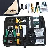 Safekom RJ45 Cat5 Cat5e Cat6e Cat6 Cat7 RJ11 RJ12 Kit d'outils avec pince à sertir, pince à dénuder, testeur de câble, outil de poinçonnage, tournevis, outils manuels pour câblage Ethernet réseau LAN