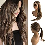 Balayage Human Hair Wigs Silky Straight 18 Inch Lace Front Wigs with Baby Hair Ombre Medium Brown with Blonde Highlighted Brazilian Virgin Hair Pre Plucked Bleached Knots 13X6 Lace Swiss Wig