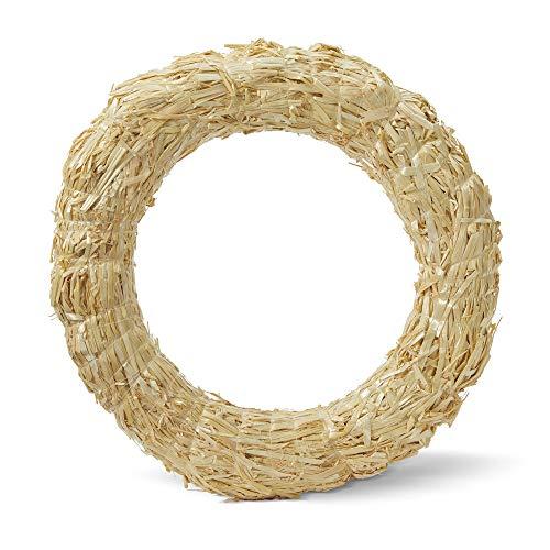 """FloraCraft Straw Wreath 14"""" Clear Wrap"""