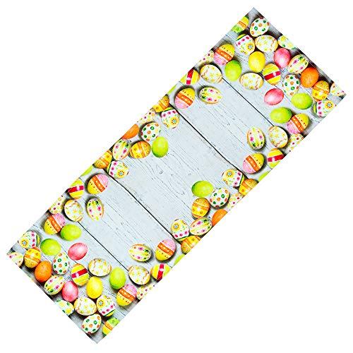Tischdecken OSTERN Pflegeleichte Eier Holzdielen Decke Osterdecke Ostertischdecke (Tischläufer 40 x 110 cm)