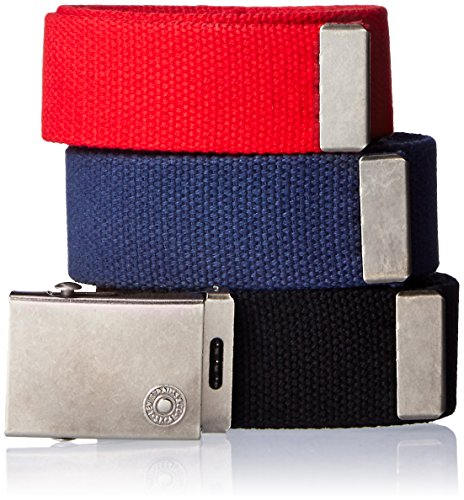Levi's Men's Cut To Fit 3 Pack Web Belt With Buckle,black/red/blue,One Size