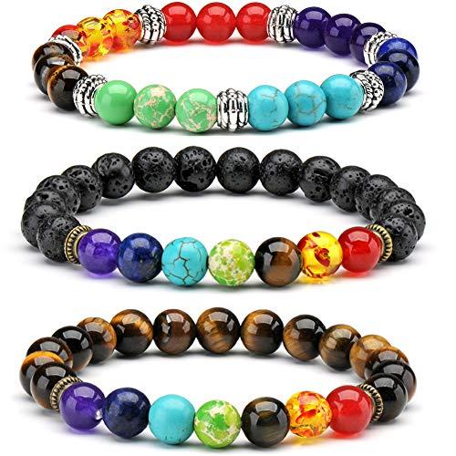 3 x Pulsera de Piedras Semi-Preciosas 7 Chakra Reiki Energy Meditation Terapia de curación Pulseras de Yoga Pulseras de Equilibrio
