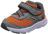 Saucony Boys' Ride 10 JR Sneaker, Grey/Orange, 040 Extra Wide US Toddler