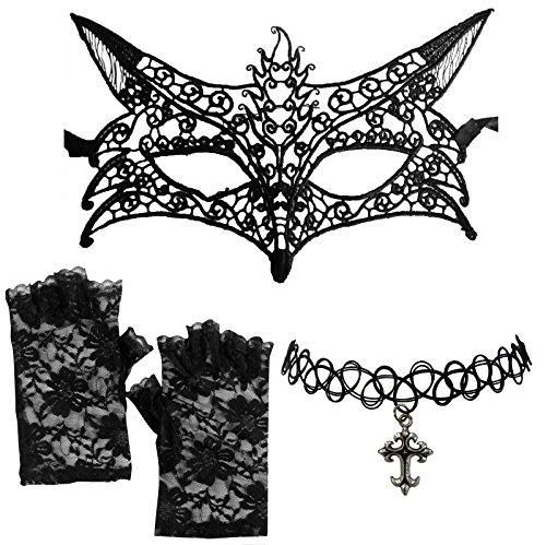 DangerousFX zwarte Venetiaanse kant vos masker + kruis halsketting + vingerloze handschoenen
