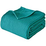 PHF 100% Cotton Waffle Weave Blanket King Size 108' x 90' - Pre-Washed Soft Lightweight Breathable Blanket for All Season - Perfect Blanket Layer for Couch Bed Sofa - Elegant Home Decoration - Teal