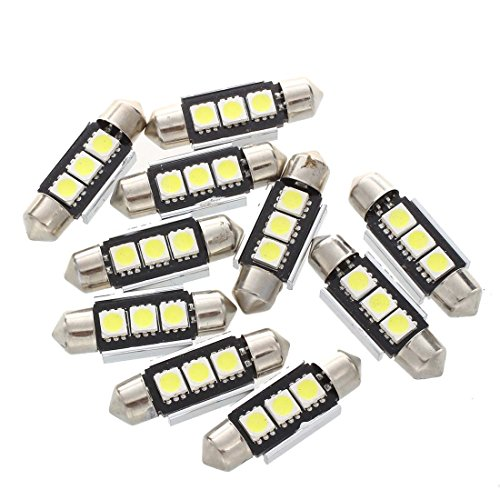 SODIAL(R) 10X 36MM AMPOULE LAMPE 3 LED 5050 SMD BLANC VOITURE DOME CANBUS