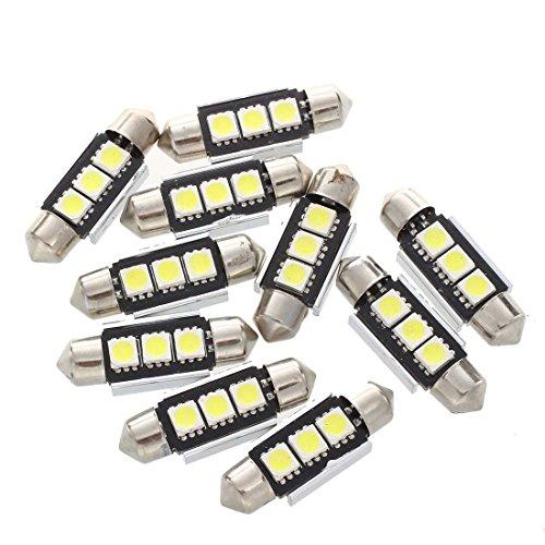 Gaoominy 10X Bombilla Lampara 3 LED 5050 SMD 12V Luz Blanco Coche Inferior