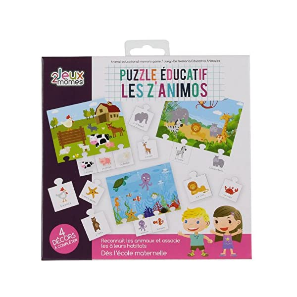 2 jeux momes Juegos 2Momes–Juego de Memoria Educativo Animales 20pcs, ea5028
