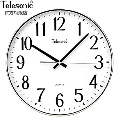 gongsizhijai Wall Clock,Office Clock Classic Simple Round Silent Battery Operated-B-14inch
