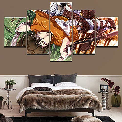 xiaoshicun 5 Panel Wandkunst Bild Angriff Titan Levi Ackerman animiertes Poster HD-Druck Druck Tierbilder Home Moderne Dekoration mit Öldekoration 30x40 30x60 30x80cm (mit Rahmen)