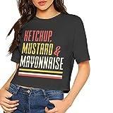 TYUHN Cuello Redondo sin Mangas para Mujer Ketchup Mostaza y mayonesa Camiseta de Verano
