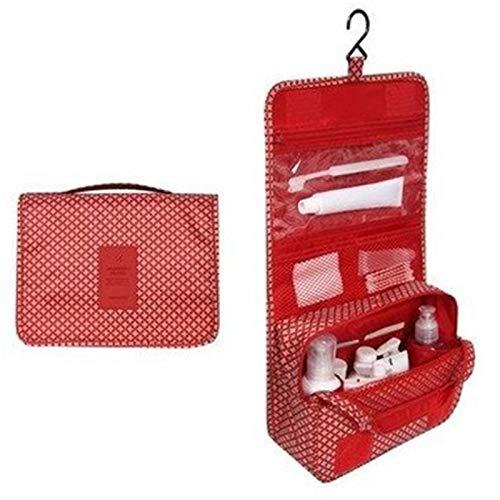 WANXJM Bolsa de cosméticos Colgante portátil, Bolsa de Almacenamiento de Maquillaje, Bolsa de Viaje organizadora de artículos de tocador Plegable, Impermeable, para Viajes, Viajes de Negocios,Rojo