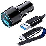 QC 3.0 Chargeur de Voiture Rapide + 1M Plat Câble USB Type C pour Samsung Galaxy S21 S20 FE A12...